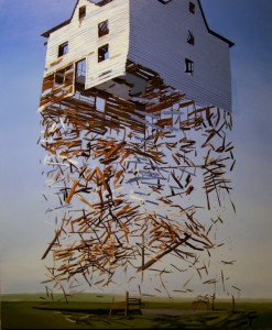 House ascending into the air